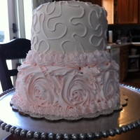 Rose And Lace Bridal Cake   white almond cake with lemon curd and raspberry filling with lemon buttercream