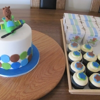 Teddy In A Plane Theme Cake