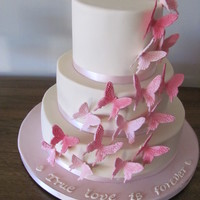 Pink Butterfly Theme Wedding Cake Fondant 3 tier ivory cake with gumpaste butterflies :)
