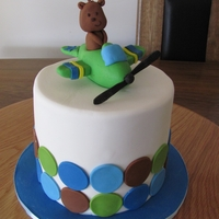 Teddy In A Plane Theme Cake double barrell cake with fondant decorations for boys 2nd birthday