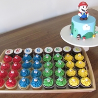 Super Mario Cake And Matching Cupcakes Fondant decorations and fondant figure