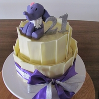 21St Elephant Lover Cake chocolate 2 tier cake with fondant elephant