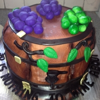 "Wine Barrel Cake Wine Barrel Cake for a 30th Birthday and the tag line reads, ""30 is nothing to WINE about"""