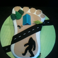 Bigfoot Cake (Sasquatch) Cake for mu neighbor who is a big fan of Bigfoot.