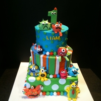 Monsters Cake Made with buttercream, fondant accents and monsters made out of fondant.
