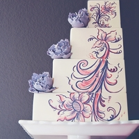 Rosemaling My version of rosemaling on a 4 tier square, right-aligned wedding cake. I went with a softer color palette than more traditional...