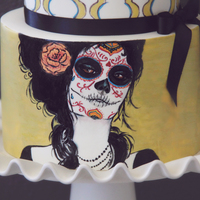 Sugar Skull Two tier cake hand painted in a dia de los muertos style. TFL!