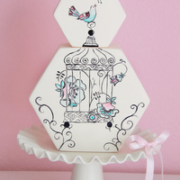 This Cake Had Me Dreaming Of Spring Already And Its Not Even Officially Winter Yet Delicate Hand Painted Bird Cage On An Unusual Shaped C This cake had me dreaming of Spring already and it's not even officially Winter yet! Delicate hand painted bird cage on an unusual...