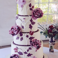 Autumn Aubergine This Fall wedding cake was designed to match the invitation with a mix of 2D and 3D elements. All 4 tiers finished in smooth Swiss Meringue...