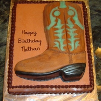 Nate's Boot Cake Boot is covered in mmf, painted with food coloring, and dusted with cocoa powder. Bottom layer is bc.