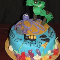 Divers Cake cake I made for a diver, coral reef, with seahorse, shells, seaweed, palm trees, sharks, octopus and a diver with tanks