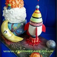 We Made This Cake For Our Grandsons Christening The Moon And The Rocket Are Made From Crispy Treats We made this cake for our grandsons christening. The moon and the rocket are made from crispy treats.