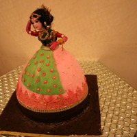 Indian Dancing Doll Cake truffle cake covered in fondant and decorated in fondant too..