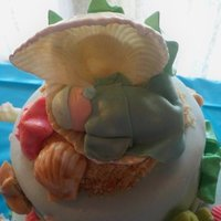 Under The Sea Baby Shower Topper fondant baby in gumpaste shell
