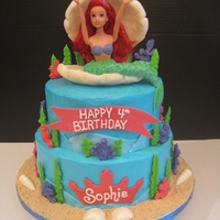 The Little Mermaid For a young girls 4th birthday. I loved how it looks as if Ariel is sitting in the shell!