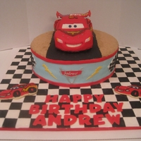 Cars 2 Cake Lightning McQueen birthday for my son! Half and half cake with cookies and cream filling covered in MMF.
