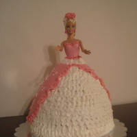 "Barbie Princess Cake Barbie Princess cake. Her dress is buttercream and the ""apron back"" is MMF. All of the flowers in her hair and crown are edible...."
