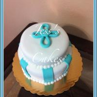 Cristening Cake White and blue cross