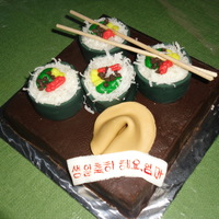 Kimbop Cake Kimbop is the Korean version of sushi. Made this for my mom. Yes I made a Chinese fortune cookie and wrote : Happy Birthday Mom in Korean...