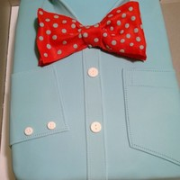 Mens Dress Shirt With Bow Tie Made this for one of my husbands work associates. It is carrot cake, cream cheese filling, white chocolate ganache then covered in fondant...