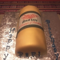 Miller Can Beer   For my dad's birthday, tried to make the can standing up, but couldn't :( but he loved it anyways :)