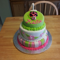 Ladybug Birthday Cake Topsy Turvy Three Layers Ladybug birthday cake. Topsy Turvy three layers.
