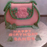 Pink And Green Purse Cake