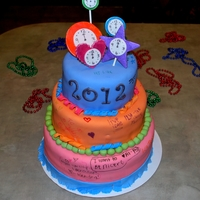 New Year's Cake   A New Year's cake for my daughter's party. Provided edible markers for the girls to write their New Year wishes.
