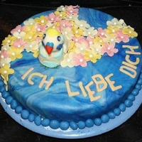 Bird Cake   a cake with the little bird ENGLA that my friends mum had for some years and it just died so she get this..and her heart get very happy