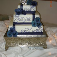 Purple And White Square Wedding Cake
