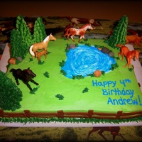 Horses Cake This was my son's 4th birthday cake. He told me exactly what he wanted. :) He changes what he wants for the next birthday almost every...