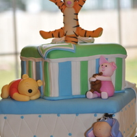 Winnie The Pooh Baby Shower Cake Baby Shower Cake for Baby Drevin. The Client asked for an elegant Winnie the Pooh cake with bows and characters. The orginal plan was to...
