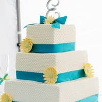 Turquoise And Yellow Wedding Cake
