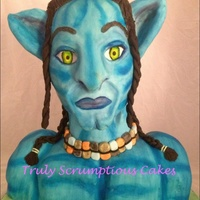 Avatar 3D Sculpted Cake 3D sculpted avatar cake, airbrushed blue with fondant hair detailing