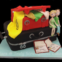 Bon Voyage Suitcase 2 tier sculpted suit case cake with icing figures and edible wafer paper passports personalised for the travellers
