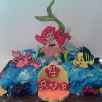 Under The Sea! 11 x 15 sheet cake, with almond buttercream, all the characters are made from fondant