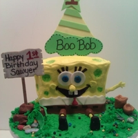 "Spongebob ""boobob"" A sponge bob cake made for a happy 1 year old who pronounces the name as ""BooBob"" he loved his cake!"