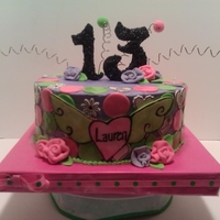 Happy 13Th Birthday Cake was done for 13 year old. Was told to do something with pink, purple, green.