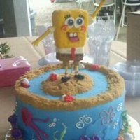 Spongebob Groom's Cake  I made this cake for my son's teacher's wedding. The groom loves Spongebob. This picture doen't do it justice, It was very...