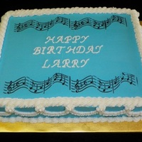 Happy Musical Birthday Our first try at using stencils on a cake.
