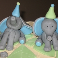 Elephant Birthday Swiss Meringue Buttercream with fondant toppers and leves