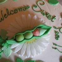 Pea In The Pod Baby Shower Cake Swiss Meringue buttercream cake with fondant pea in the pod babies and accents