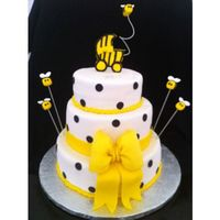 "Bumble Bee Baby Shower Cake Bumble Bee Cake all fondant including the bee's. 10"", 8"", 6""."