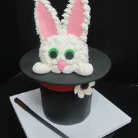 Rabbit In The Hat Rabbit in the hat: The hat part is cake, the brim is covered foam core, the rabbit head is rice treats and the ears are gumpaste. The &quot...