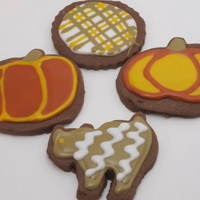 Fall Cookies chocolate cut outs decorated for fall.