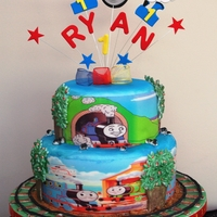 Thomas The Tank Engine Cake A two tiered Chocolate Birthday Cake to celebrate Ryans 1st Birthday