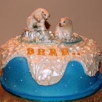 Polar Bear Christmas Cake A Traditional Fruit Cake covered with marizipan and Fondant.