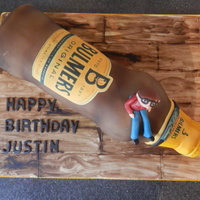 Cider Bottle Cake My first time making a bottle cake. Board and bottle were painted using cider as a thinner so smells like cider too! x