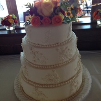 Ivory Wedding Cake Ivory Wedding Cake with Fall Flower Topper