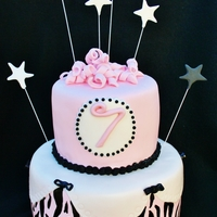 Pink, Black & White Star Cake